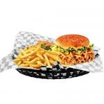 12pcs Serving Tray &100pcs Wax Paper Liners, Eusoar Bread Baskets Wax Deli Paper, Restaurant Food Serving Tray Basket Setsfor Restaurant Supplies, Deli Serving, Chicken, Burgers&Fries
