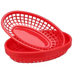 "Plastic Baskets for Food Serving, Eusoar 6Pcs 9.4"" x 5.9"" Fast Food Baskets, Fry Tray, Bread Baskets, Serving Tray for Fast Food Restaurant Supplies, Deli Serving, Chicken, Burgers, Sandwiches & Fries"