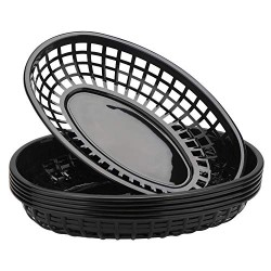 "Bread Baskets, Eusoar 6Pcs 9.4"" x 5.9"" Fast Food Serving Baskets, Fry Tray Baskets, Serving Tray for Fast Food Restaurant Supplies, Deli Serving, Chicken, Burgers, Sandwiches & Fries"