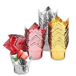 150Pcs Foil Cupcake Muffin Liners, Eusoar 3.5oz Aluminum Foil Baking Cups, Muffin Cups, Disposable Tulip Style Cupcake Cups, Baking Cups, Aluminum Cupcake Pan Ramekin Holders
