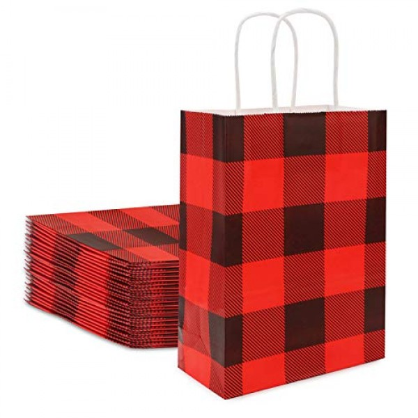 """Christmas Gift Bags, Eusoar24pcs8.7"""" x 4.3"""" x 10.5""""Kraft Paper Gift BagsBulk, Shopping Paper Bags with Handles, Lunch Bags, Merchandise Bag, Party Bags, Retail Handle Bags, Wedding Bags"""