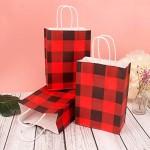 "Kraft Paper Bags, Eusoar 24pcs 6.2""x 3.2""x8.6"" Kraft Paper Christmas Gift Bags with Handles Bulk, Shopping Bags with Handles, Lunch Bags, Merchandise Bag, Party Bags, Retail Handle Bags, Wedding Bags"