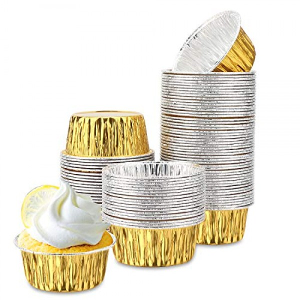 100Pcs Cupcake Liners, Eusoar 4oz Disposable Aluminum Foil Baking Cups, Ramekin Muffin Liners Cups, Pudding Liners Holders, Aluminum Cupcake Tip Pan Ramekin Holders