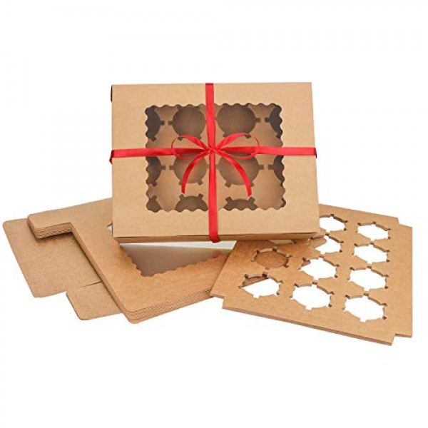 "Cupcake Boxes, Eusoar 12pcs 12.8""x9.8""x3.5"" Cupcake Carrier, Cupcake Boxes with Inserts, Paper Cake Boxes, Cake Carrier, Mini Cupcake Boxes, Bakery Boxes, Disposable Cupcake Cntainers Holders"