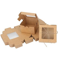 "Individual Cupcake Boxes, Eusoar 50pcs 4.0""x 4.0""x 2.6"" Single Cupcake Box Carrier, Paper Cupcake Holder Containers, Pastry Boxes, Individual Cake Container, Cake Boxes Single, Gift Treat Cupcake Box,"