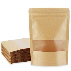 """Kraft Stand Up Pouch Bags, Eusoar 50pcs 5.5"""" x 7.8"""" Kraft Paper Zipper Pouch, Storage Brown Paper Bags with Zip Lock and Transparent Window for Storing Nuts Seeds Beans Coffee Candy Snacks"""