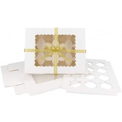 """Cupcake Boxes with Inserts, Eusoar 12pcs 12.8""""x9.8""""x3.5"""" Cupcake Carrier, Cupcake Boxes, Paper Cake Boxes, Cake Carrier, Mini Cupcake Boxes, Bakery Boxes, Disposable Cupcake Cntainers Holders"""