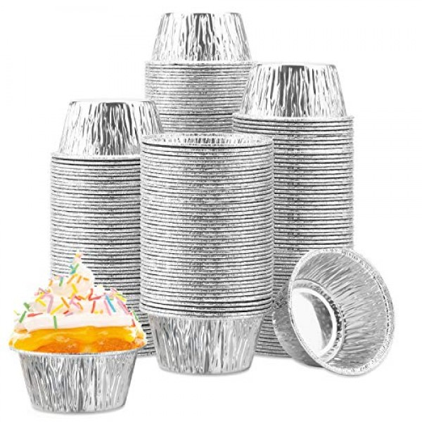 200 Pcs Cupcake Liner, Eusoar 4oz Aluminum Baking Cups, Ramekin Muffin Baking Cups, Disposable Muffin Liners, Ramekin Holders Cups, Aluminum Cupcake Baking Pan, Pudding Baking Cups